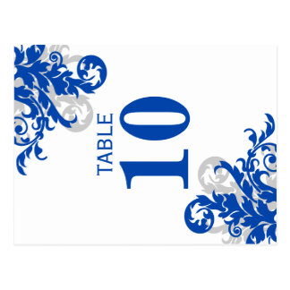 Royal Blue and Silver Flourish Table Number Card Post Cards