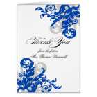 Royal Blue and Silver Flourish Thank You Card
