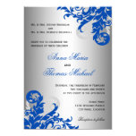 Royal Blue And Silver Flourish Wedding Card at Zazzle
