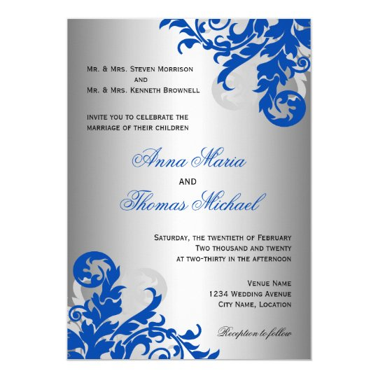 royal blue and silver flourish wedding card | zazzle, Wedding invitations
