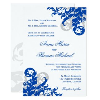 Royal Blue and Silver Flourish Wedding Card