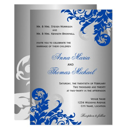 Royal Blue and Silver Flourish Wedding Invitation | Zazzle.com