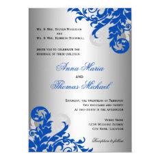 Royal Blue and Silver Flourish Wedding 5x7 Paper Invitation Card at Zazzle
