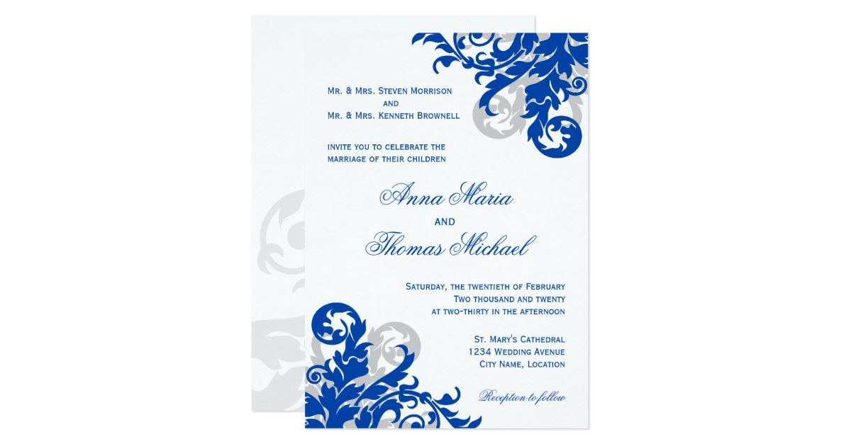 Wedding Invitation Designs Royal Blue: Royal Blue And Silver Flourish Wedding Invitation