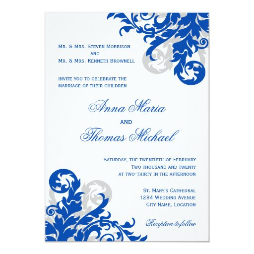 royal blue and silver wedding invitations & announcements | zazzle,