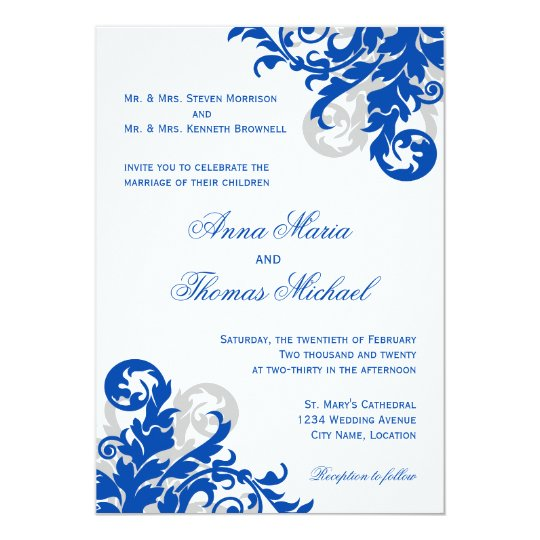 royal blue and silver flourish wedding invitation. Black Bedroom Furniture Sets. Home Design Ideas