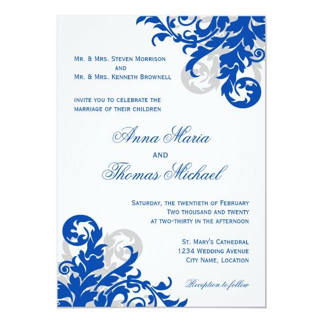 Royal Blue and Silver Flourish Wedding Invitation   Zazzle.com