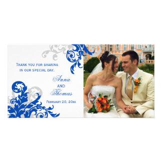 Royal Blue and Silver Flourish Wedding Photo Card