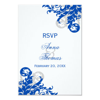 Royal Blue and Silver Flourish Wedding RSVP Cards Personalized Invitations