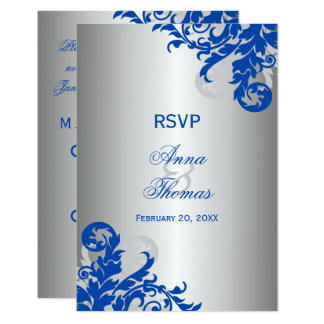 Royal Blue and Silver Flourish Wedding RSVP Invitation