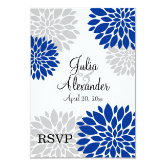 Royal Blue and Silver-Gray Floral Burst RSVP 3.5x5 Paper Invitation Card
