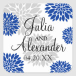 Royal Blue and Silver-Gray Floral Burst Wedding Square Sticker