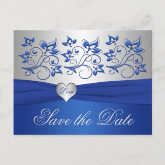 Royal Blue and Silver Heart Save the Date Card postcard