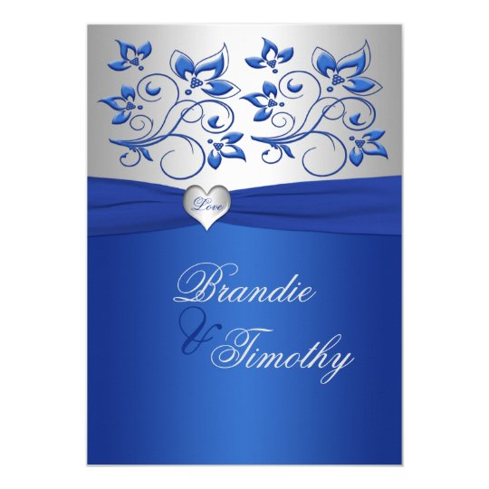 Royal Blue And Silver Heart Wedding Invitation Zazzlecom