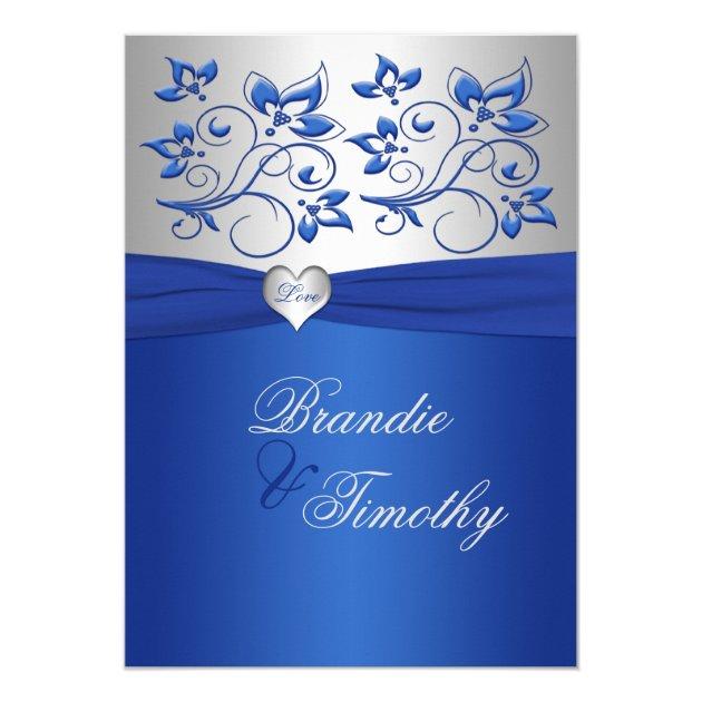 Royal Blue and Silver Heart Wedding Invitation | Zazzle