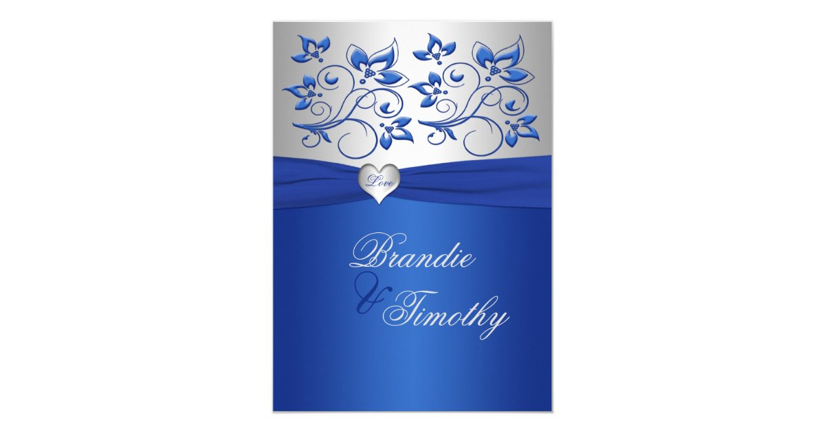 Wedding Invitation Designs Royal Blue: Royal Blue And Silver Heart Wedding Invitation