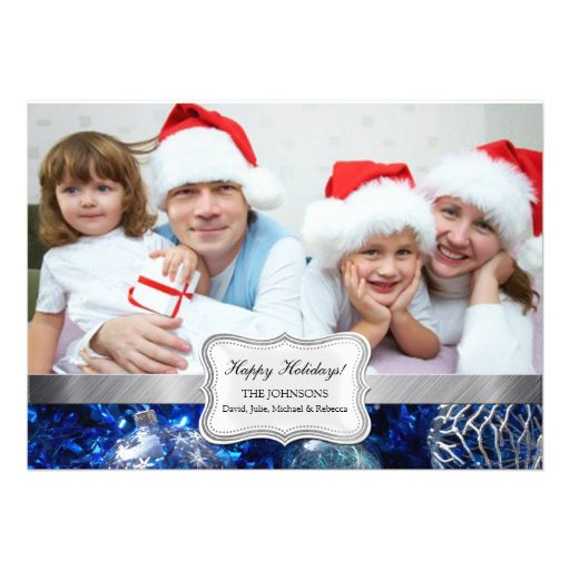Royal Blue and Silver Holiday Photo Cards