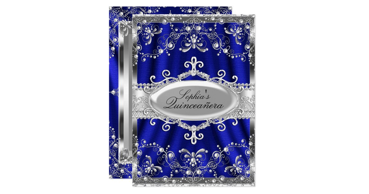 Wedding Invitations Royal Blue And Silver: Royal Blue And Silver Jewel Damask Quinceanera Invitation