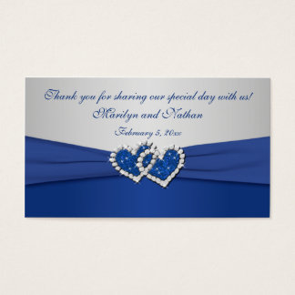 Royal Blue and Silver Joined Hearts Favor Tag