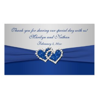 Royal Blue and Silver Joined Hearts Favor Tag profilecard