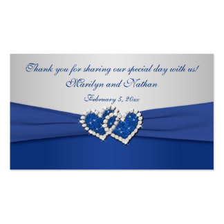 Royal Blue and Silver Joined Hearts Favor Tag Business Card