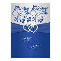 """Royal Blue and Silver Joined Hearts Invitation 5"""" X 7"""" Invitation Card"""