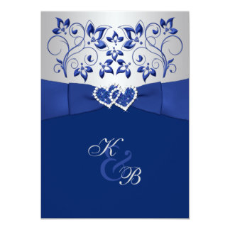 Royal Blue and Silver Joined Hearts Invitation 2