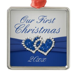 Royal Blue and Silver Joined Hearts Ornament ornament