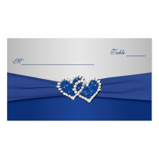 Royal Blue and Silver Joined Hearts Placecards Business Card Templates