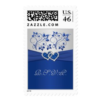 Royal Blue and Silver Joined Hearts Postage stamp