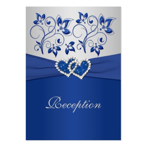 Royal Blue and Silver Joined Hearts Reception Card Business Card Templates