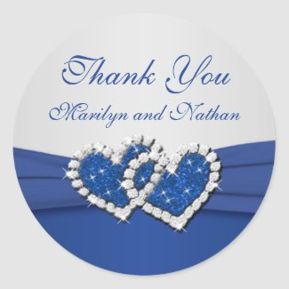 Royal Blue and Silver Joined Hearts Sticker sticker