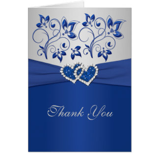 Royal Blue and Silver Joined Hearts Thank You Card Greeting Cards