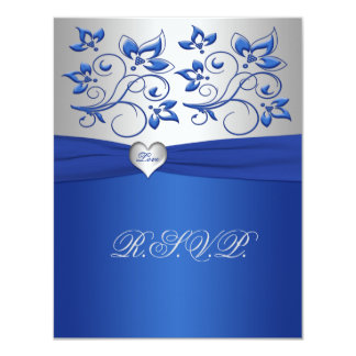 Royal Blue and Silver Love Heart Reply Card Personalized Announcement