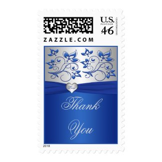 Royal Blue and Silver Love Heart Wedding Postage stamp