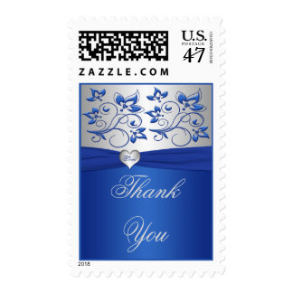 Royal Blue and Silver Love Heart Wedding Postage