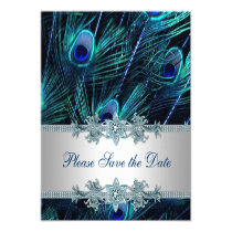 "Royal Blue and Silver Peacock Save the Date 5.25"" Square Invitation Card"