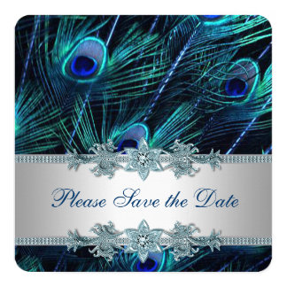 Royal Blue and Silver Peacock Save the Date 5.25x5.25 Square Paper Invitation Card