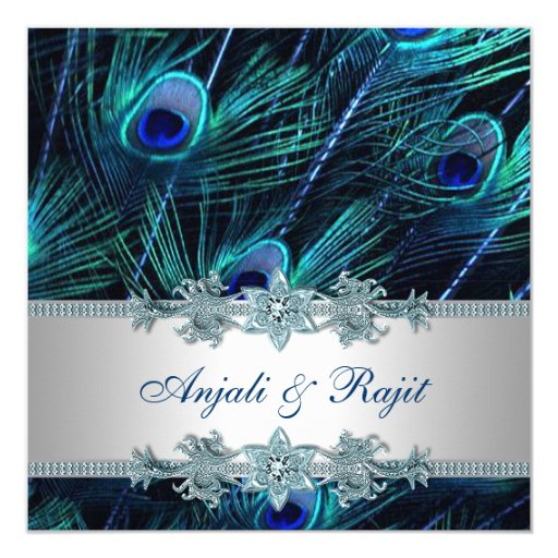 Royal Blue and Silver Royal Blue Peacock Wedding Card