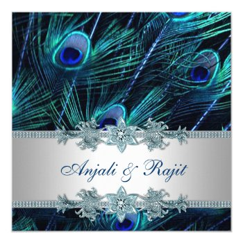 Royal Blue and Silver Royal Blue Peacock Wedding Invitation Cards