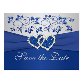Royal Blue and Silver Save the Date Card