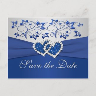 Royal Blue and Silver Save the Date Card postcard