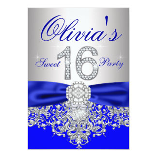 Royal Blue and Silver Sweet 16 Party 5x7 Paper Invitation Card