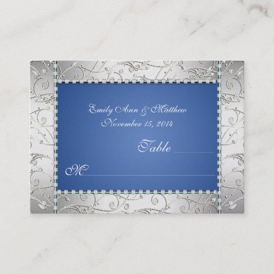 royal blue and silver swirl table place cards - Table Place Cards