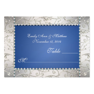 Royal Blue and Silver Swirl Table Place Cards Business Cards