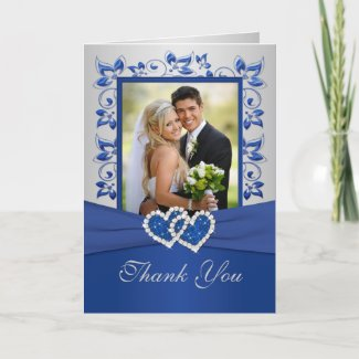 Royal Blue and Silver Thank You Card with Photo card