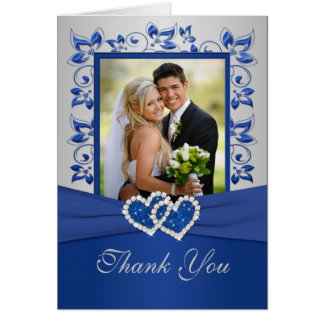 Royal Blue and Silver Thank You Card with Photo Greeting Cards