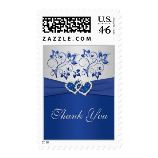 Royal Blue and Silver Thank You Postage stamp