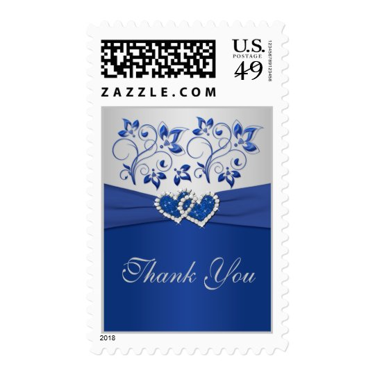 Royal Blue and Silver Thank You Postage