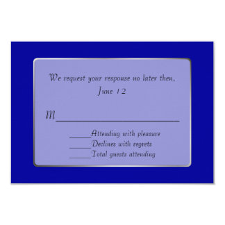 Royal Blue and Silver Tone RSVP Card